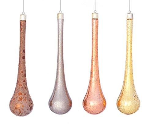 Set of 6 Metallic Patterned Teardrop Ornaments in Clear Gift Box