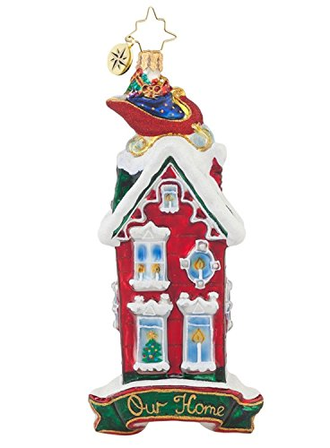 """Christopher Radko Glass Rooftop Visitor """"Our Home"""" Christmas Ornament #1017850"""