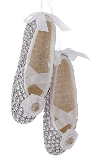 4.5″ Silver Glittered Ballet Dancer Slippers Christmas Ornament w/ Faux Rhinestones