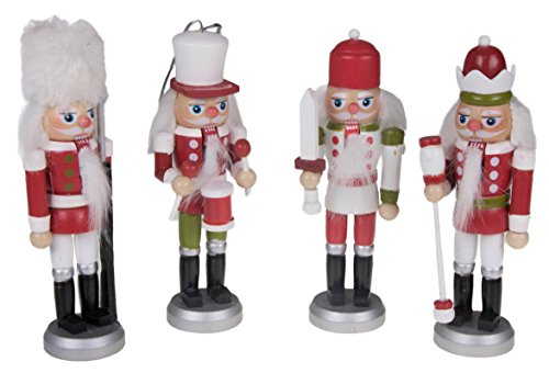 Christmas Red, White, and Green Nutcracker Ornaments Variety 4 Pack – 5.5″ Tall