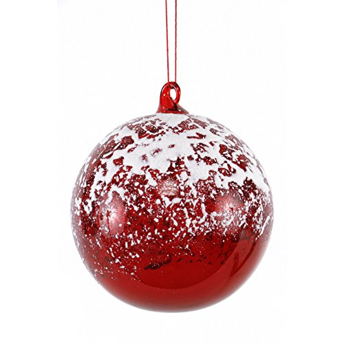 Sage & Co. Cherry Hill Lane Glass Ball with Snow Ornament For Christmas Decoration, Set of 4
