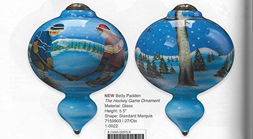 "Ne'Qwa Art, Christmas Gifts, ""The Hockey Game Ornament"" Artist Betty Padden, Marquis-Shaped Glass Ornament, #7159903"