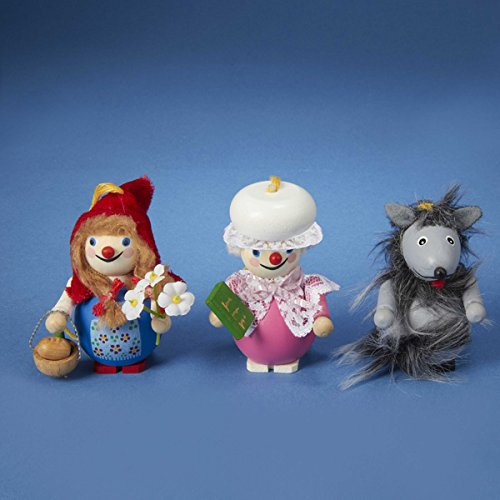 Steinbach Little Red Riding Hood with Grandma and the Big Bad Wolf Christmas Ornament Set