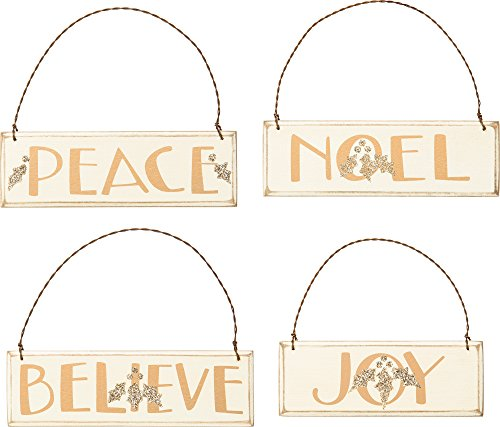 Primitives By Kathy Holiday Ornaments Set of 4 Peace Noel Believe Joy