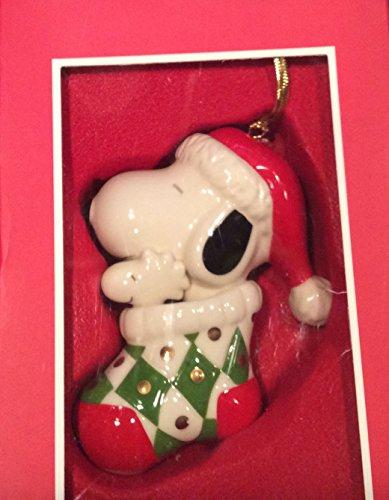 Lenox Peanuts Snoopy & Woodstock in Stocking Christmas Ornament
