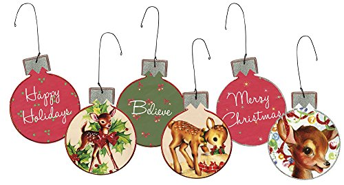 Set/3 Wooden Fawn Christmas Ornaments by Primitives By Kathy 4″ x 5″