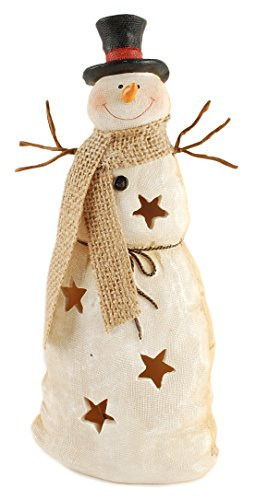Burlap Textured Snowman LED Light-up 10 x 5 inch Resin Stone Christmas Figurine