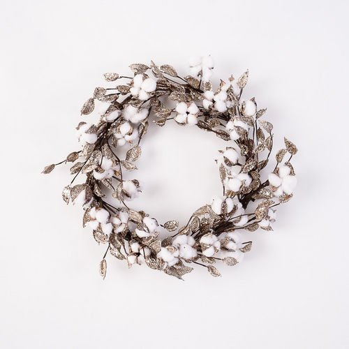Silver Glitter Cotton Ball Christmas Wreath by 180 Degrees