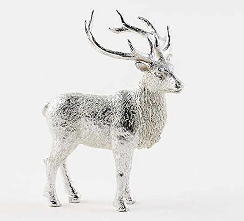 180 Degrees 5″ Silver Sculpted Resin Stag Deer Christmas Village Figure Ornament