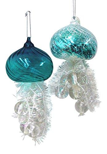 Kurt Adler 5.5″ Glass Jellyfish Ornament 2/asstd.