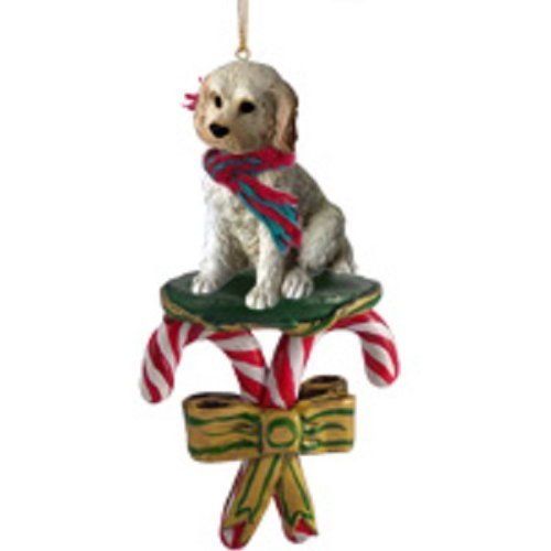 Labradoodle Cream Candy Cane Ornament by Conversation Concepts