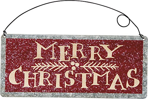 Merry Christmas Tin Ornament Sign by Primitives By Kathy 7″ x 3″