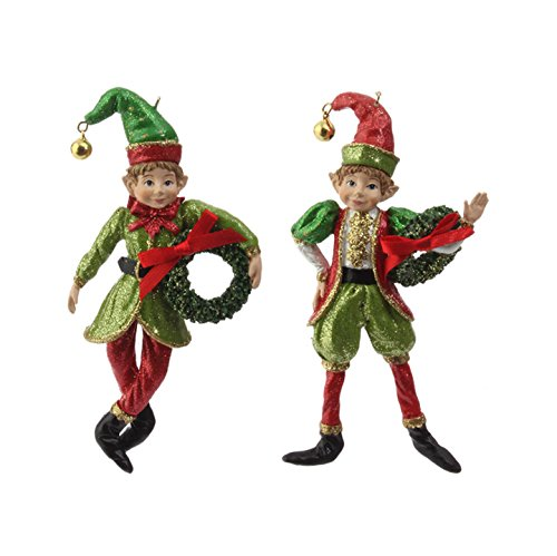 RAZ Imports – Botanical Garden – 5″ Red and Green Christmas Elf Ornaments – Set of 2