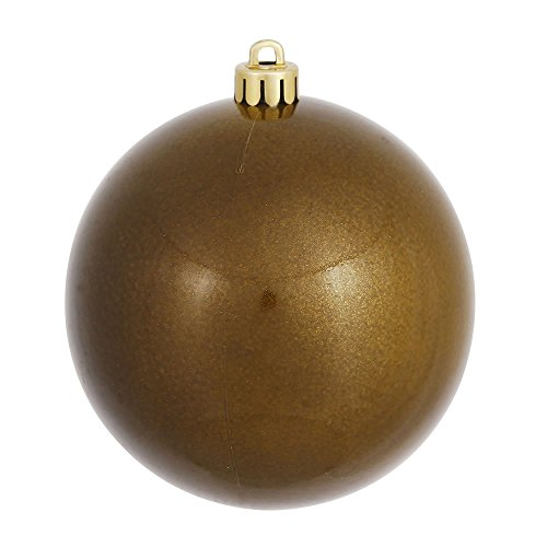 Vickerman Candy Finish Seamless Shatterproof Christmas Ball Ornament, UV Resistant with Drilled Cap, 12 per Bag, 3″, Olive