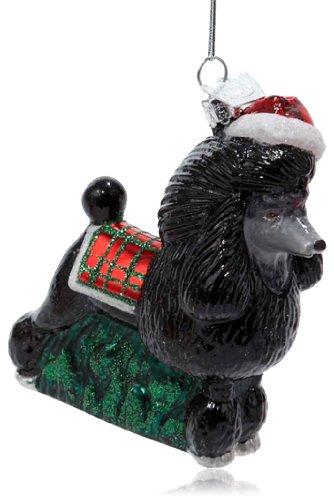 Kurt Adler 3-1/2-Inch Noble Gems Glass Black Poodle Ornament