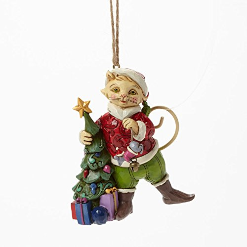 Jim Shore for Enesco Heartwood Creek Christmas Cat with Tree Ornament, 3.5-Inch
