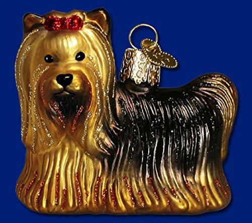 Old World Christmas Yorkie Dog Glass Ornament #12151
