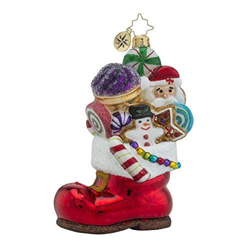 Christopher Radko Sugar Boot Stack Candy & Gingerbread Themed Glass Christmas Ornament – 5.25″h.