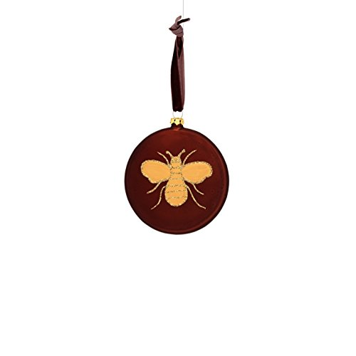 Sage & Co. XAO20167BR Glass Disc with Glitter Bee Ornament (8 Pack)
