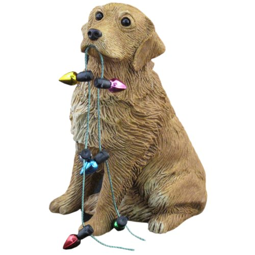 Sandicast Golden Retriever with Holiday Lights Christmas Ornament