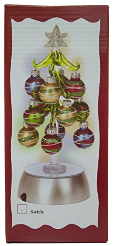 Ganz 8 Inch Light Up Glass Christmas Tree with 12 Ornaments (Swirls)