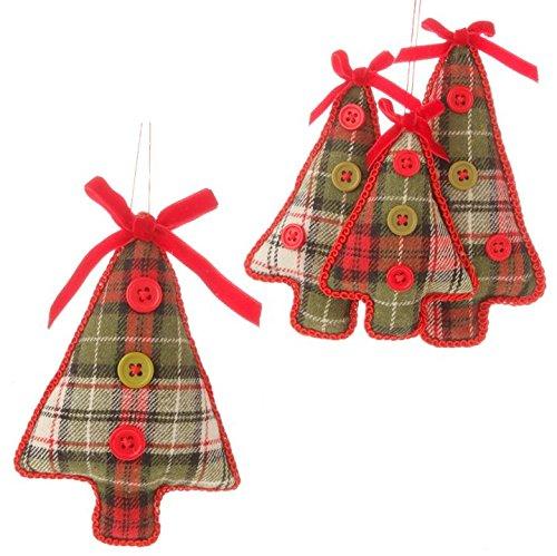 RAZ Imports Plaid Tree Ornament– Set of Two (3516433)