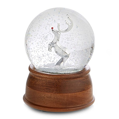 Nambe Acacia and Silver Plated Reindeer Snow Globe