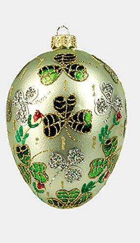 Green Shamrock Egg Faberge Inspired Polish Mouth Blown Glass Holiday Ornament