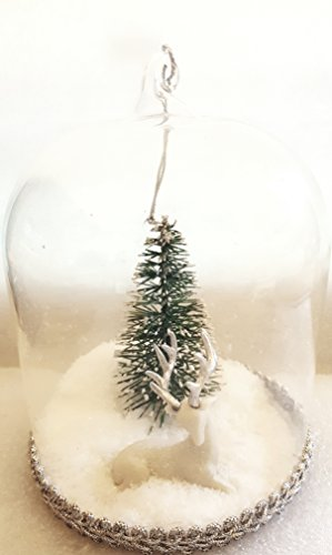 Snow Globe Glass Ornament Let It Snow with Reindeer and Holiday Tree Measures 4.25 inches