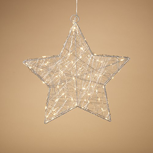 Large Silver Wire LED Lighted Metal Holiday Star Christmas Decoration