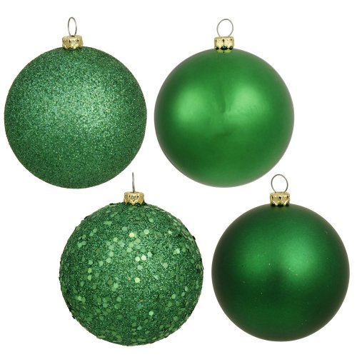 Vickerman 4 Finish Ball Asst Drilled 4/Bg4-Finish Assorted Plastic Ornament Set & Seamless Shatterproof Christmas Ball Ornaments with Drilled Cap, Assorted 4 per Bag, 6″, Green