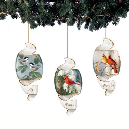 James Hautman's Songbirds Porcelain Spiral Ornaments, Set of 3