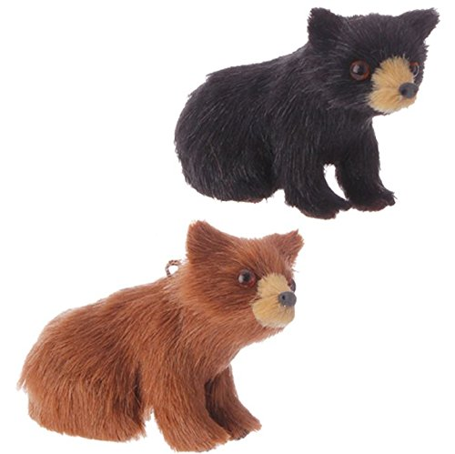 Christmas Cabin Brown and Black Bear Holiday Ornaments 2-in – Set of 2 3505151
