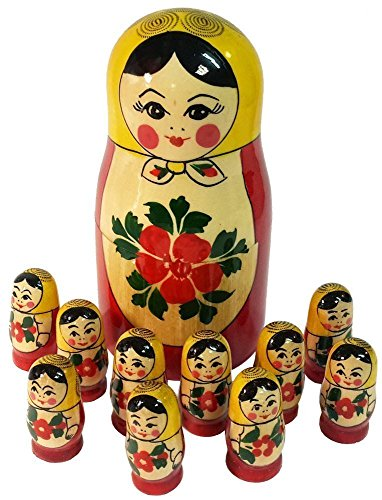 Russian Nesting Dolls – Wooden Stacking Doll with 10 matryoshkas Inside – Handpainted Gift – Counting Set – 5″ Tall