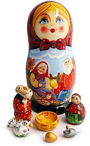 Matryoshka Dolls – Exclusive Nesting doll with Miniature Fairy Figurines -The Speckled Hen Fairytale Set -Authentic Made in Russia Wooden Babushka Doll – Stacking Handmade Toys – 7pc set – 7″ Tall