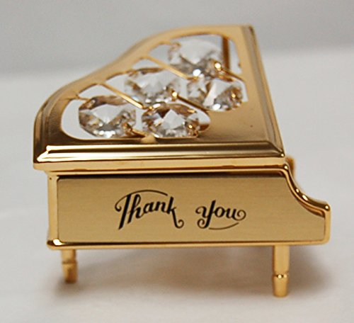 """Thank You"" 24k Gold Plated Piano Free Standing with Clear Swarovski Crystal"