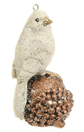 3″ Country Cabin White Glittered Bird Perched on Acorn Christmas Ornament