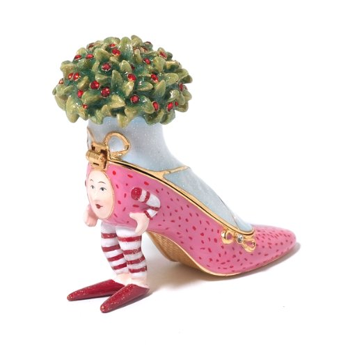 Patience Brewster Christmas Krinkles Pink Shoe Jeweled Box Retired – Ornaments 56-39386KRINK