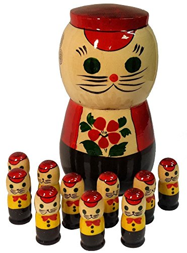 Russian Matryoshka Cat with 10 Kittens Nesting Doll – Wooden Handpainted Christmas Gift – Nested Counting Set – 5″ Tall