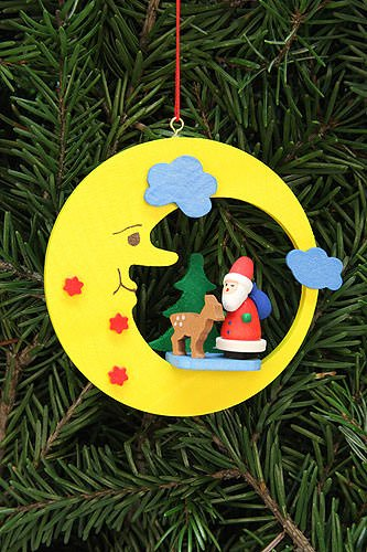 Tree ornaments Tree ornament Santa Claus with Bambi in moon – 8,3×7,9cm / 3.3×3.1inch – Christian Ulbricht