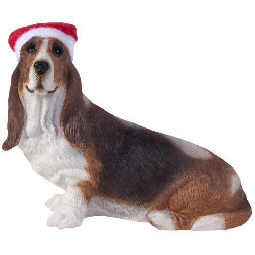 Sandicast Basset Hound with Santa Hat Christmas Ornament by Sandicast