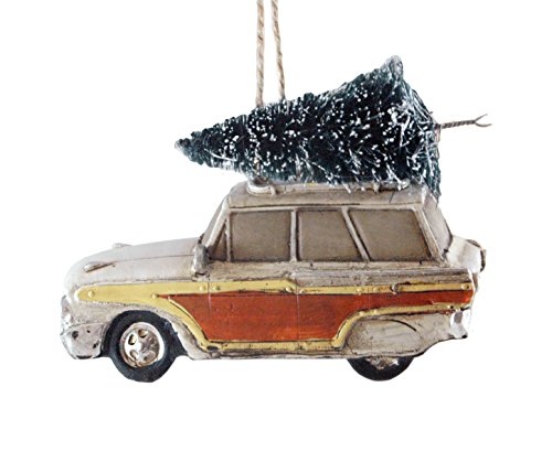 Woodie Wagon Car with Christmas Tree Hanging Ornament