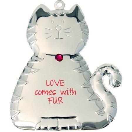 Silvertone Dapped Cat Ornament