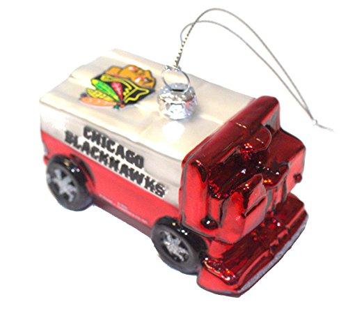 nhl licensed chicago blackhawks blown glass team zamboni ornament - Chicago Christmas Ornaments