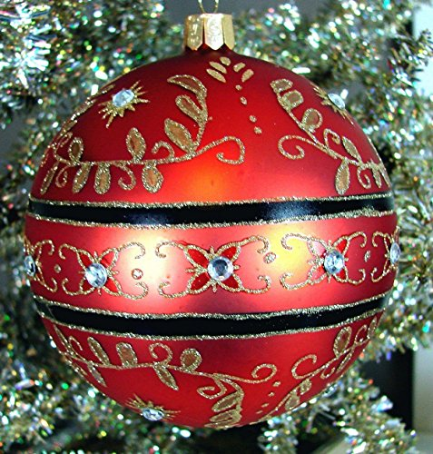 Waterford Holiday Heirlooms Christmas Majestic Scroll Ball #155136 Ornament, Red with Gold Scroll & Crysals