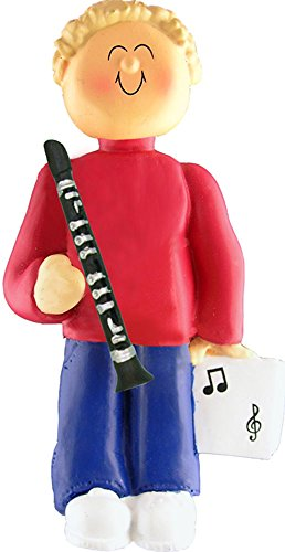 Music Treasures Co. Male Musician Clarinet Ornament (Blonde Hair)