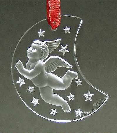 Lalique Crystal 1998 Cherub on Half Moon Ornament