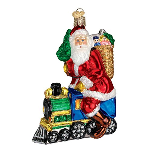 Old World Christmas Santa On Train Glass Blown Ornament