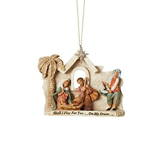 Fontanini by Roman High Holy Family and Drummer Boy Haning Ornament with a Verse, 5 by Fontanini