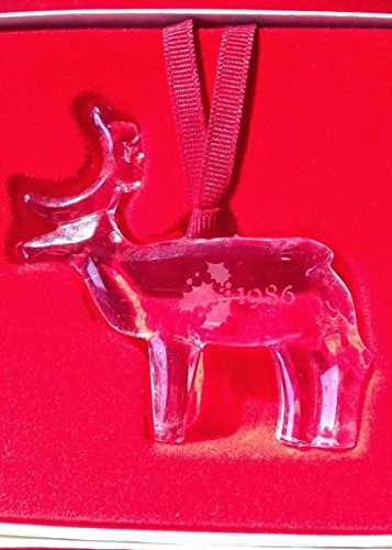 Orrefors Lead Crystal 1986 Reindeer Ornament